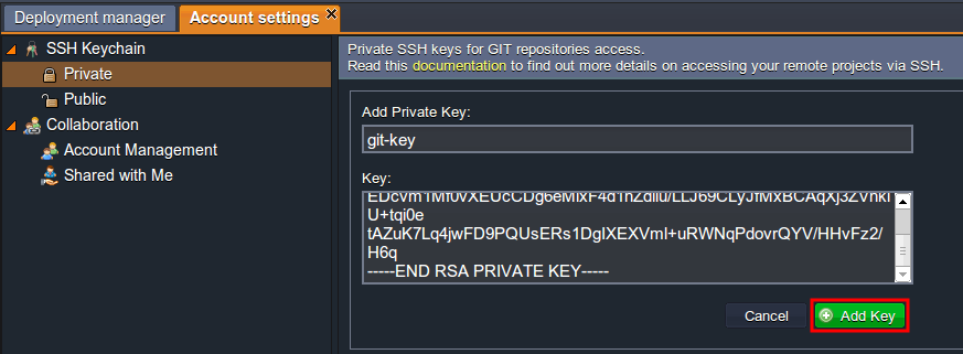 Adding private Key