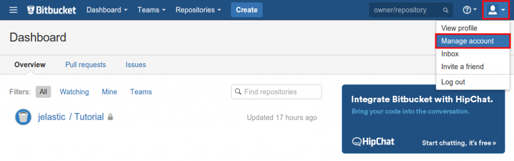 manage Bitbucket account